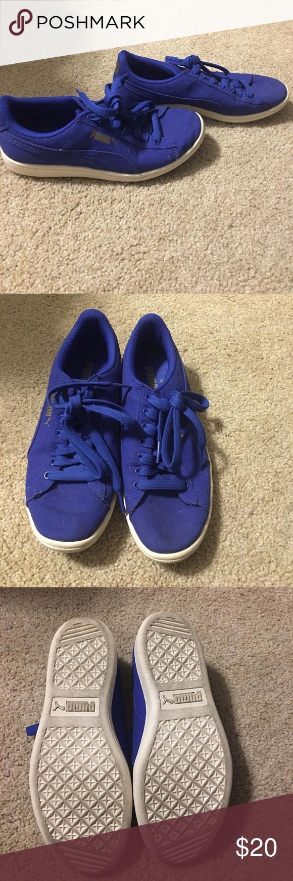 puma blue canvas shoes