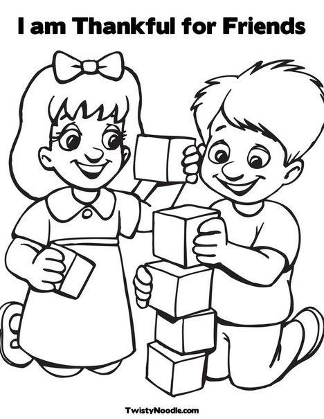 I Am Thankful For Friends Coloring Page Friendship Theme Preschool Coloring Pages Preschool Friendship