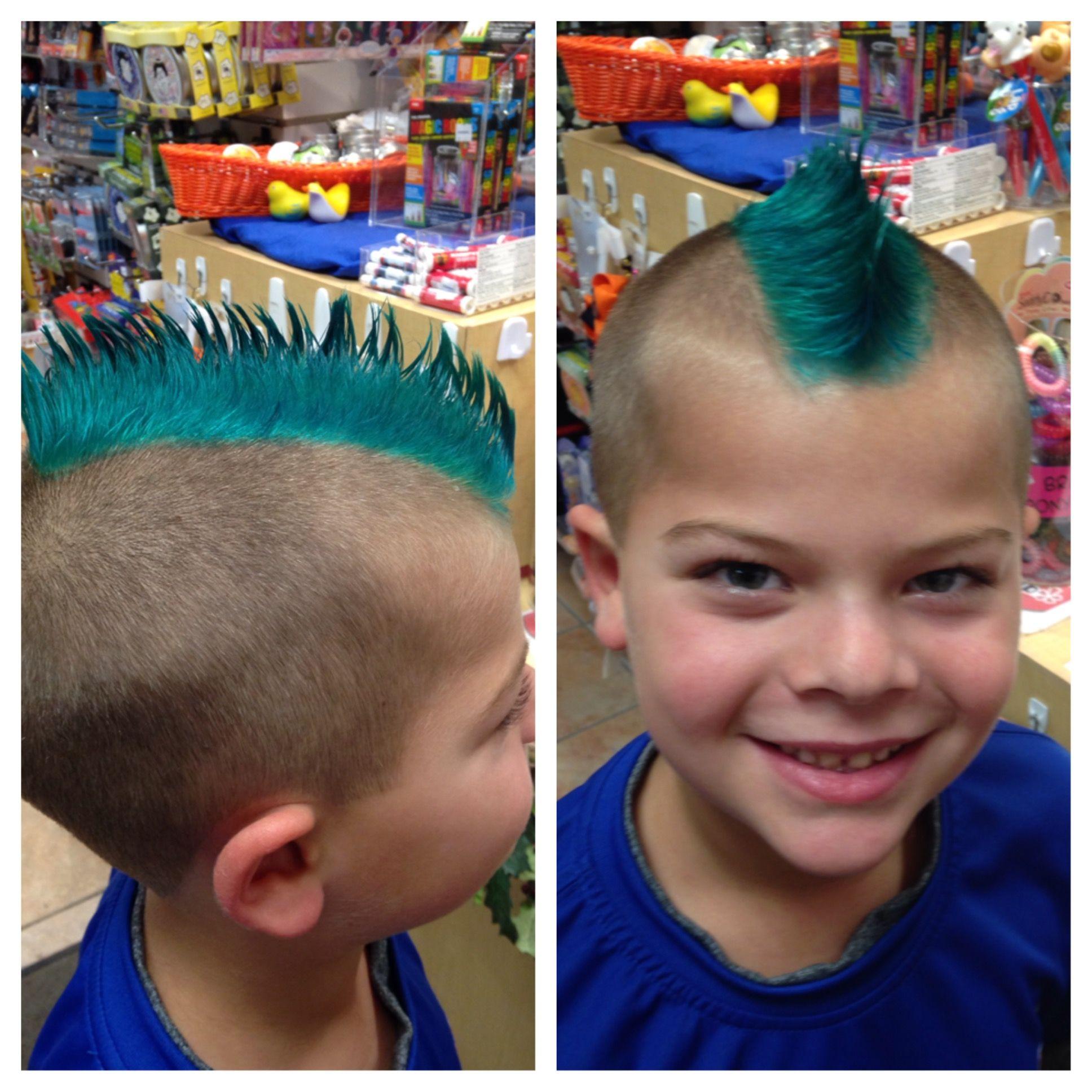 Cool Mohawk ~ teal hair ~ pravana color shaved KidSnips.com