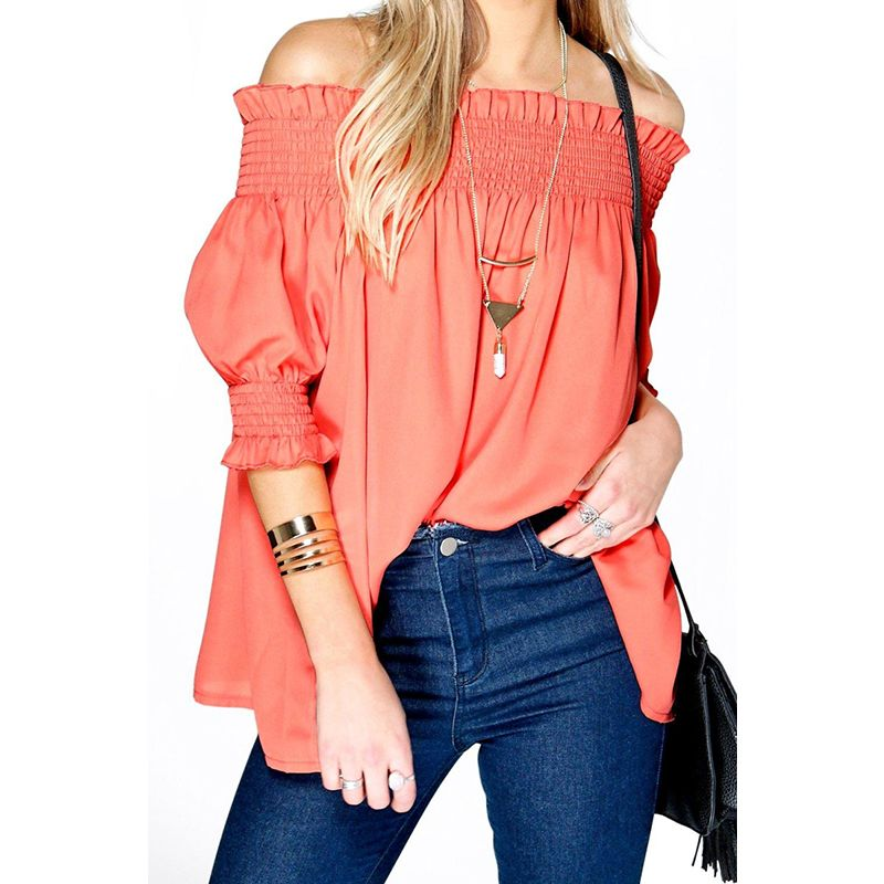 Find More Blouses & Shirts Information about 2016 Summer Women Blouses Off Shoulder Sexy Lady Clothes Blouse Solid Casual Tops Plus Size Slash Neck Shirts Blusas Femininas,High Quality blouses pictures,China shirt casual Suppliers, Cheap shirt whit from Deal fun on Aliexpress.com