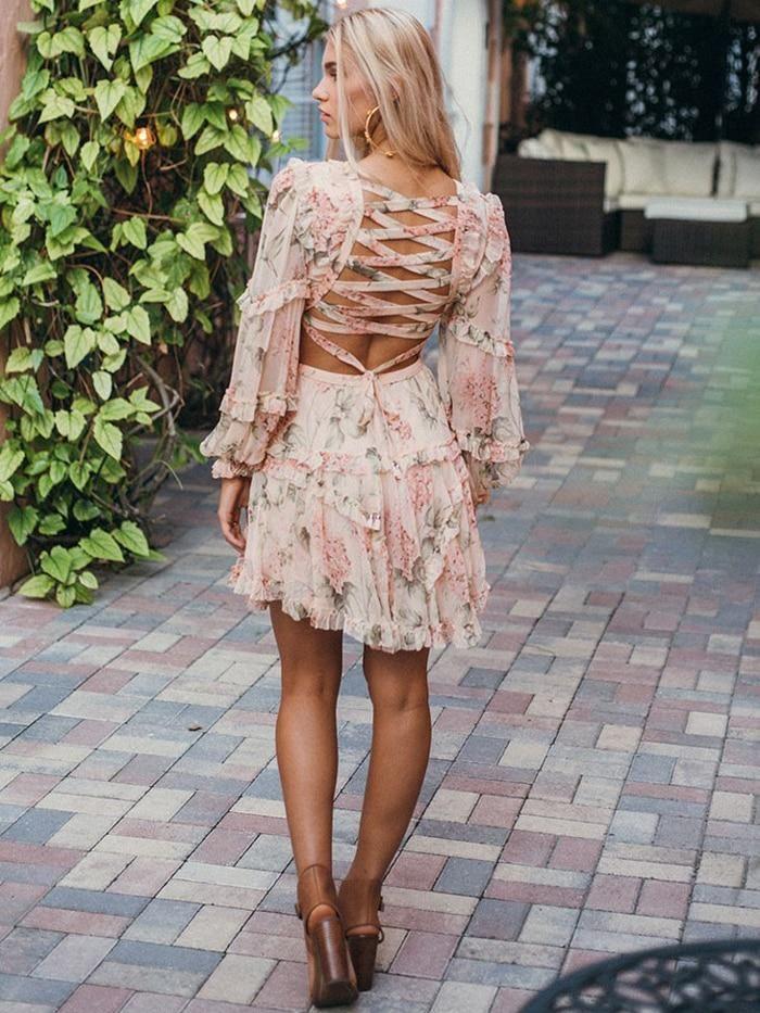 Floral Chiffon Boho Deep V Neck Backless Dress Short Vintage Flower Prints Evening Gowns Bridesmaid Summer Beach Mini Dress Woman Spaghetti Strap Cross #shortbacklessdress