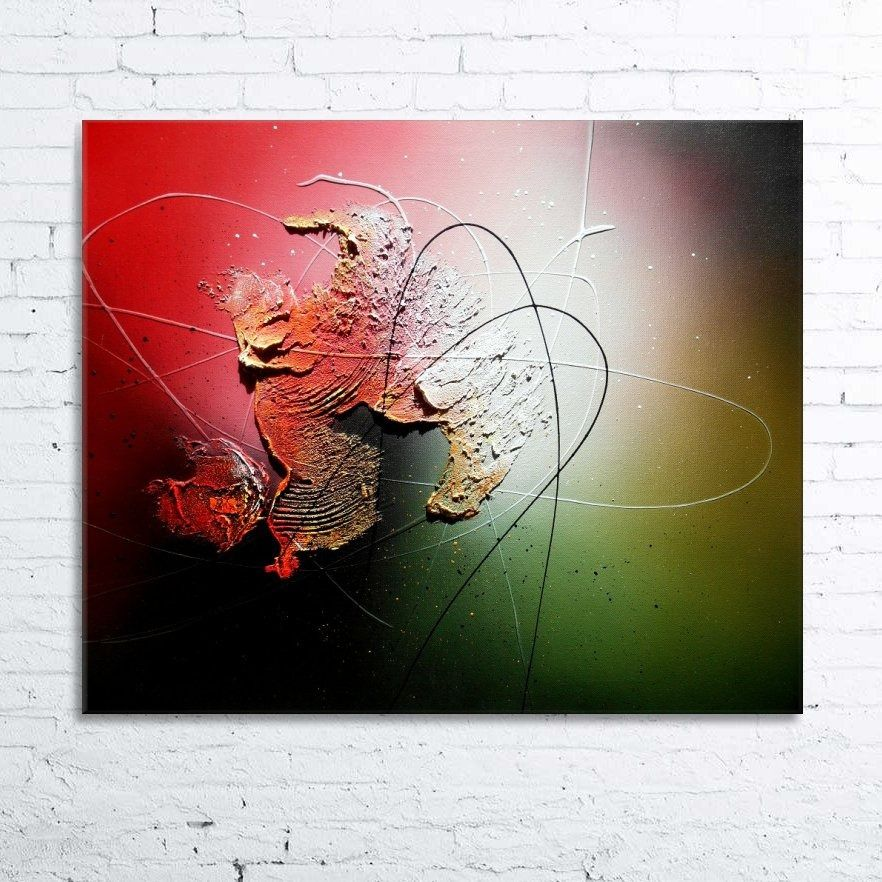Abstract contemporary textured acrylic painting canvas cymbae black red yellow orange white - Tableau peinture acrylique moderne ...