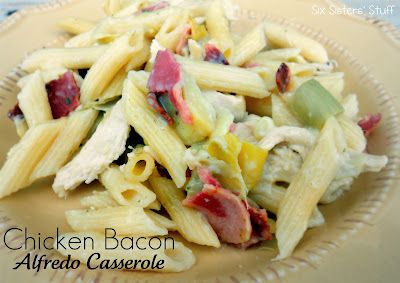 Chicken Bacon Alfredo Casserole- quick and easy weeknight meal!