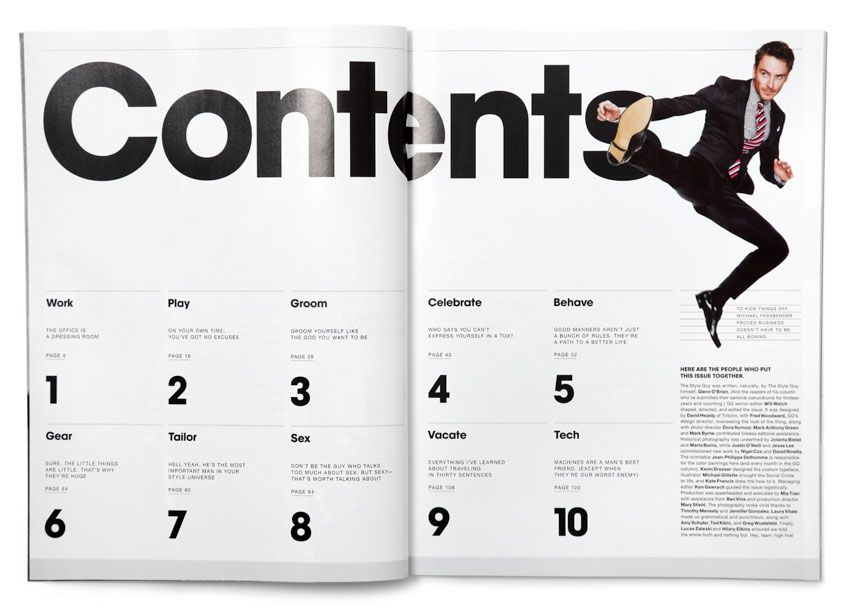 Layout Table Of Contents Triboro For Gq Style Magazine Layout Index Design Table Of Contents Design