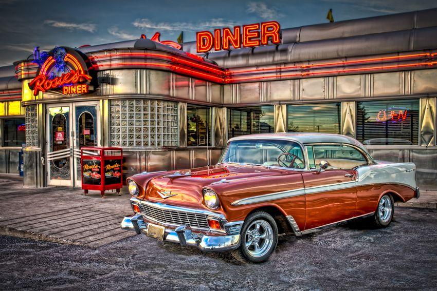 American Diner Garage Art Vintage Diner