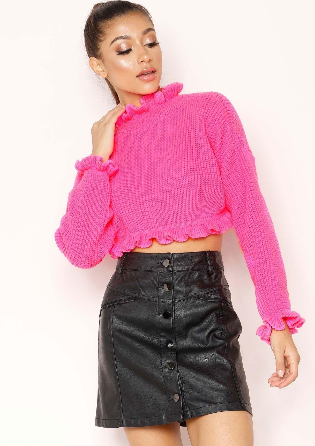 938d0b91d21 Honey Neon Pink Cropped Frill Knit Jumper | ⚡ neon dream ...