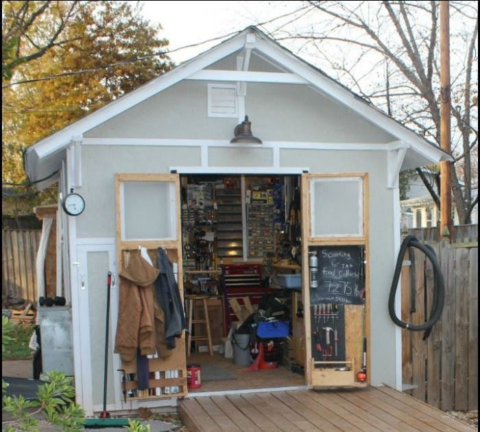 How To Build A Tiny Workshop Tools And More Pinterest Building Sturdy Workbenc Build Building Pin In 2020 Diy Storage Shed Plans Backyard Sheds Diy Storage Shed