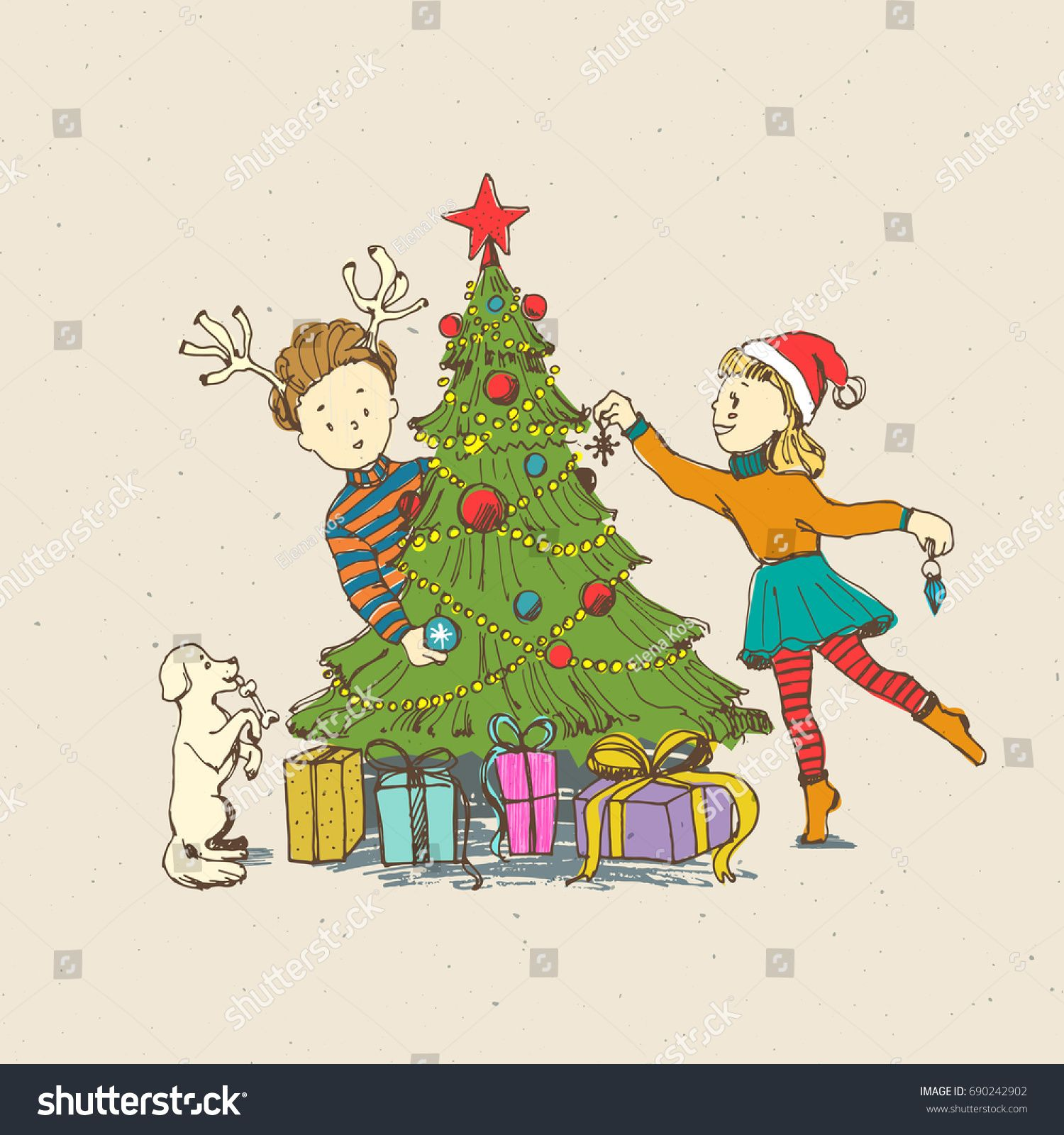 Little #Kids Boy And Girl Decorate A #Christmas Tree With