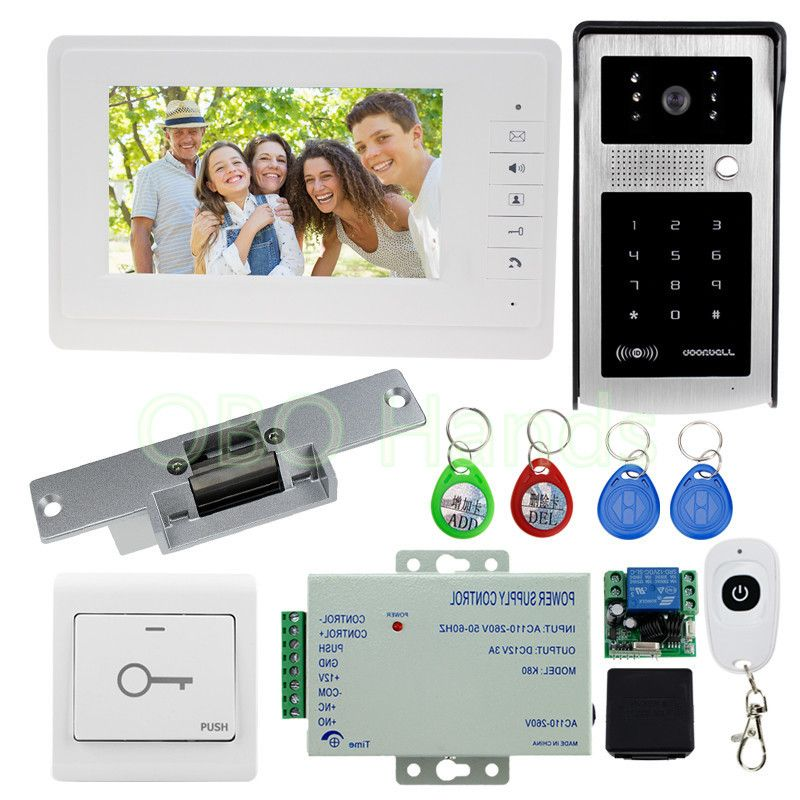 Free Shipping 7 Video Door Phone Intercom System Kit Set With Electric Strike Lock Rfid Access Outdoor Camera For Home Secure Doorbell Camera