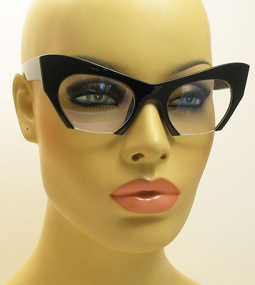 3611582736 NEW VINTAGE STYLE CLEAR BOTTOM SEMI RIMLESS CUT OFF LENS CAT EYE GLASSES  BLACK in Clothing