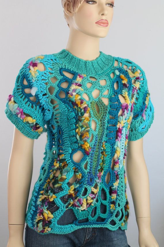 Hippie Boho Gypsy Rainbow Thick Freeform Crochet Sweater Tunic