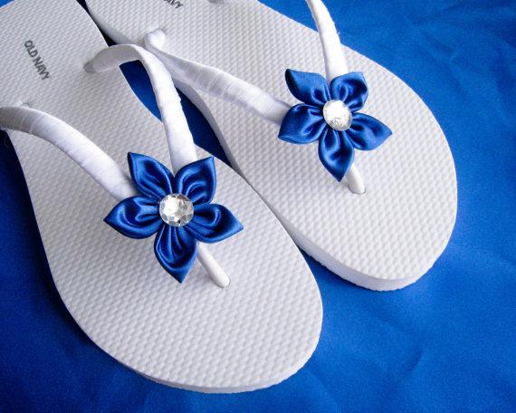 440d8c499e78 Royal Blue Floral Bridal Flip Flops   by ILoveYoYoWedding on Etsy