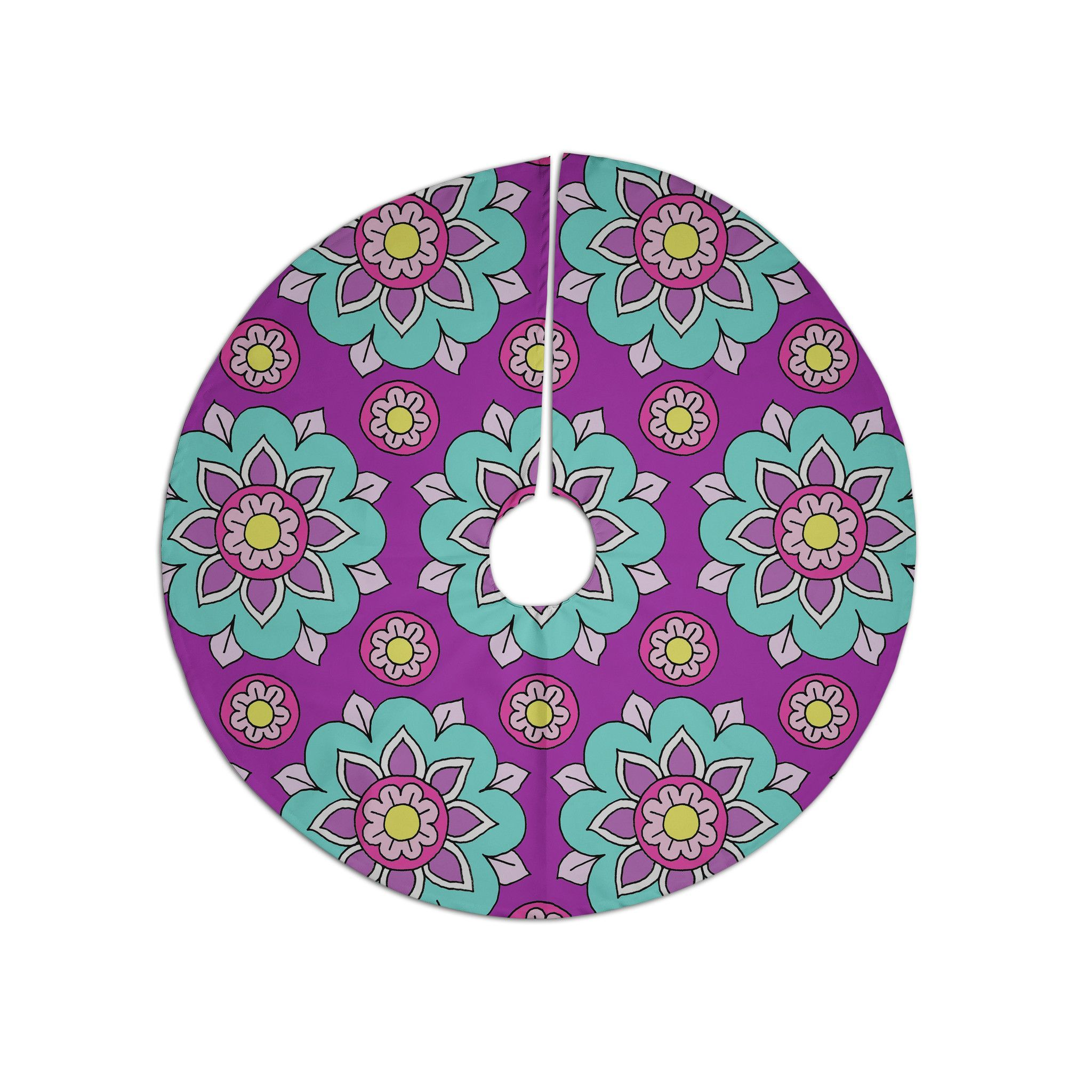 "Aqua Christmas Tree Skirt: Sarah Oelerich ""Bright Blossoms"" Aqua Purple Christmas"