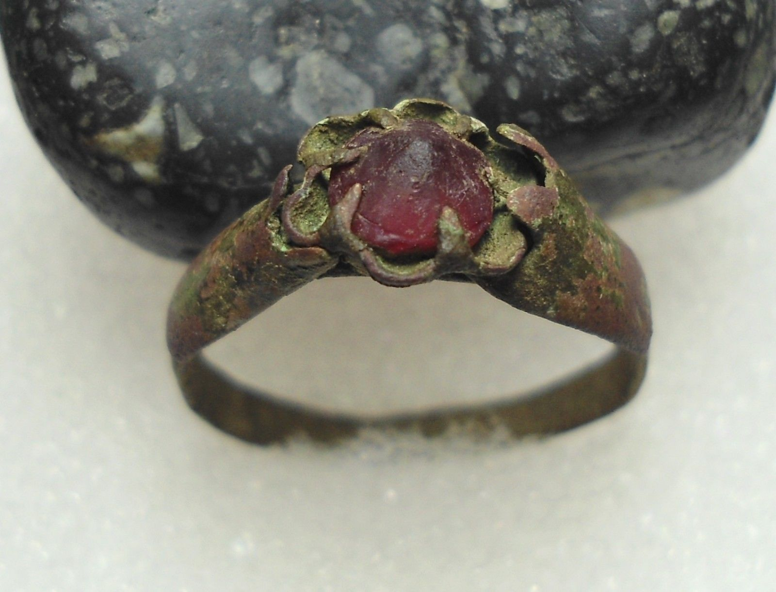 Ancient Roman Rings ancient roman bronze ring with red stone original authentic