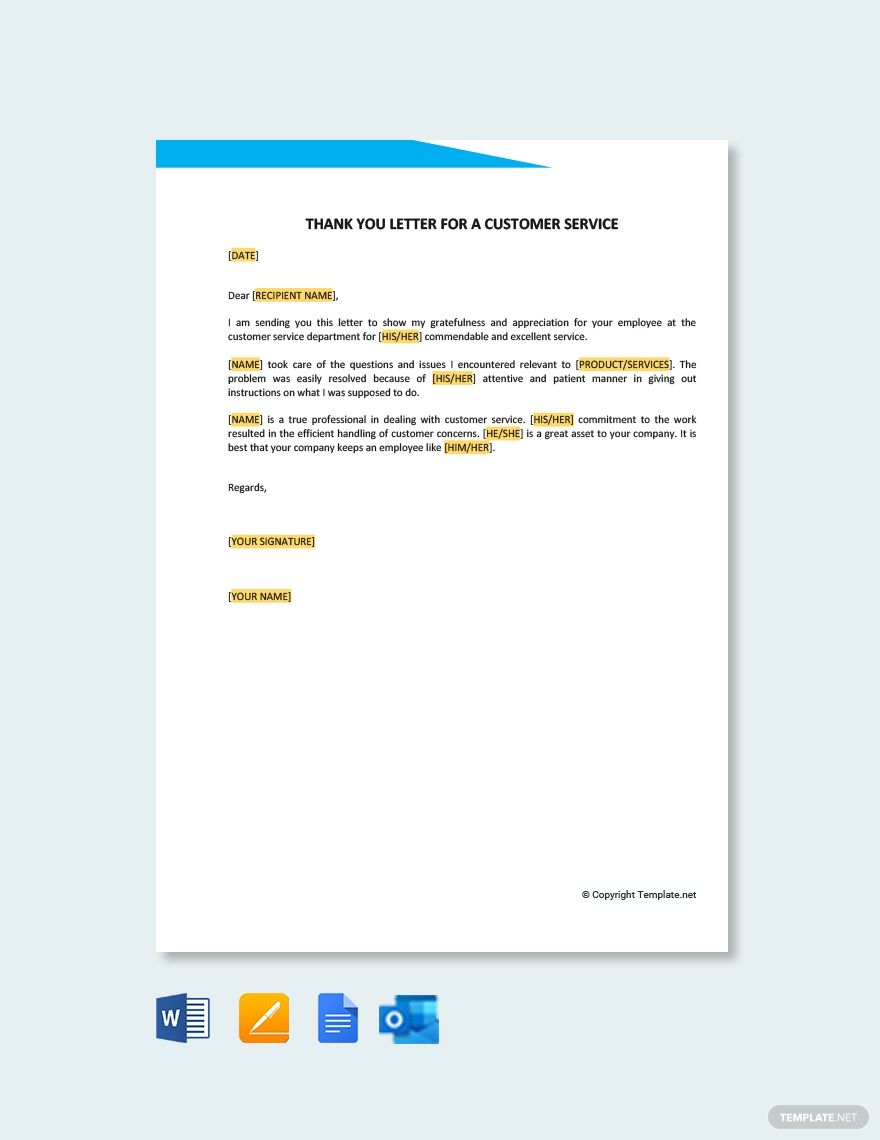 Free Thank You Letter Template For A Customer Service Word Doc Apple Mac Pages Google Docs Thank You Letter Thank You Letter Template Lettering