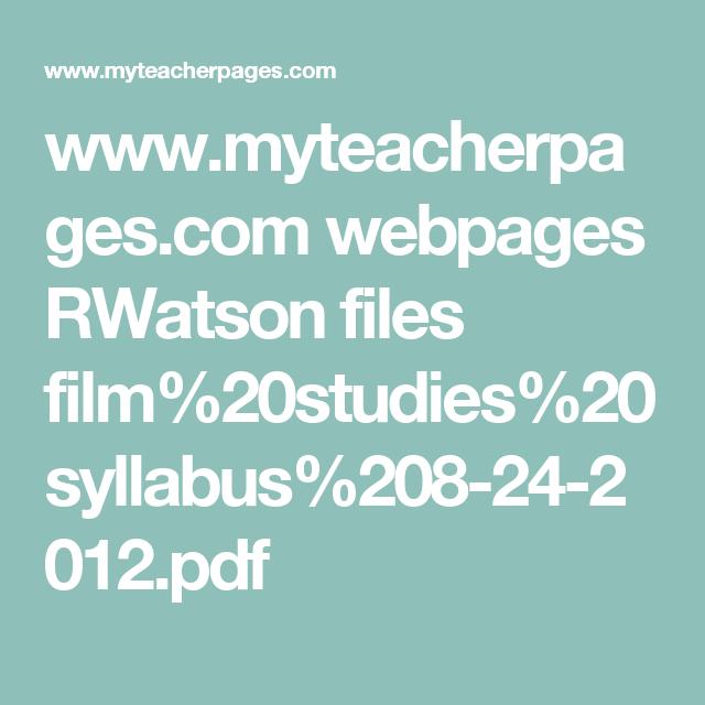 Www Myteacherpages Com Webpages Rwatson Files Film 20studies