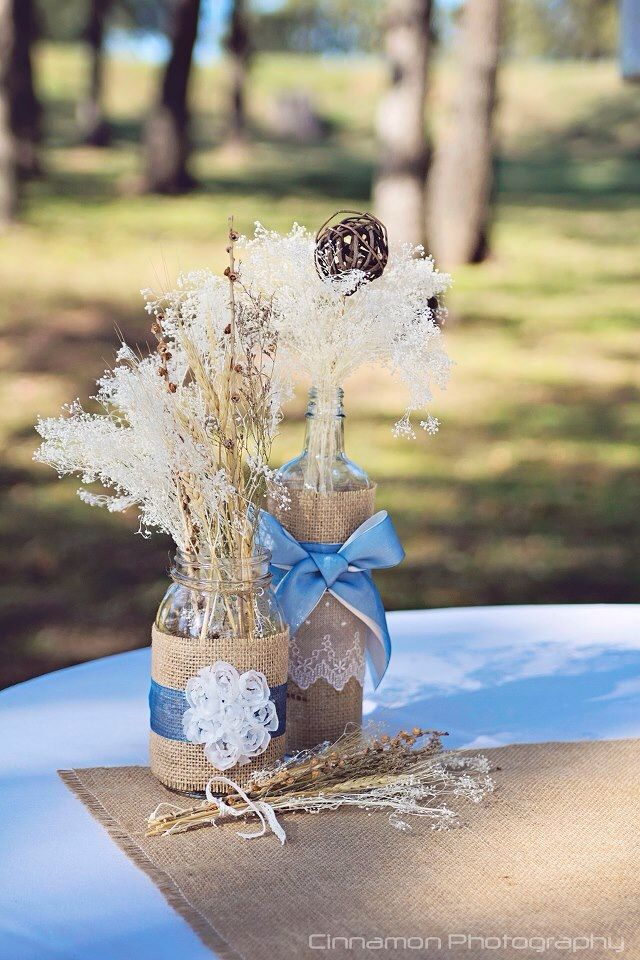 Mason Jar And Gl Bottle Wred In Burlap Lace Blue Ribbon Used Various