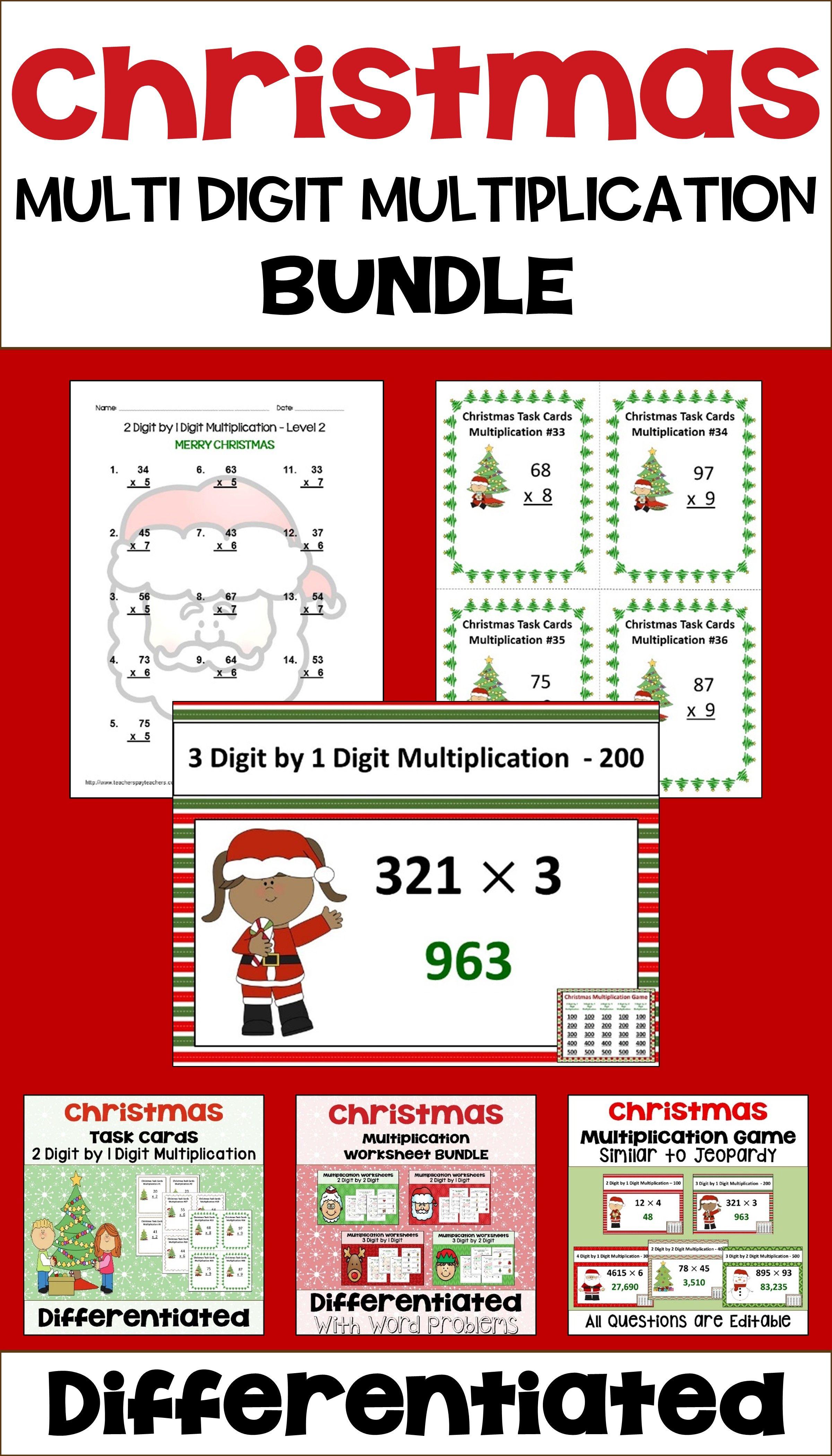 Christmas Multiplication Bundle With Worksheets Task