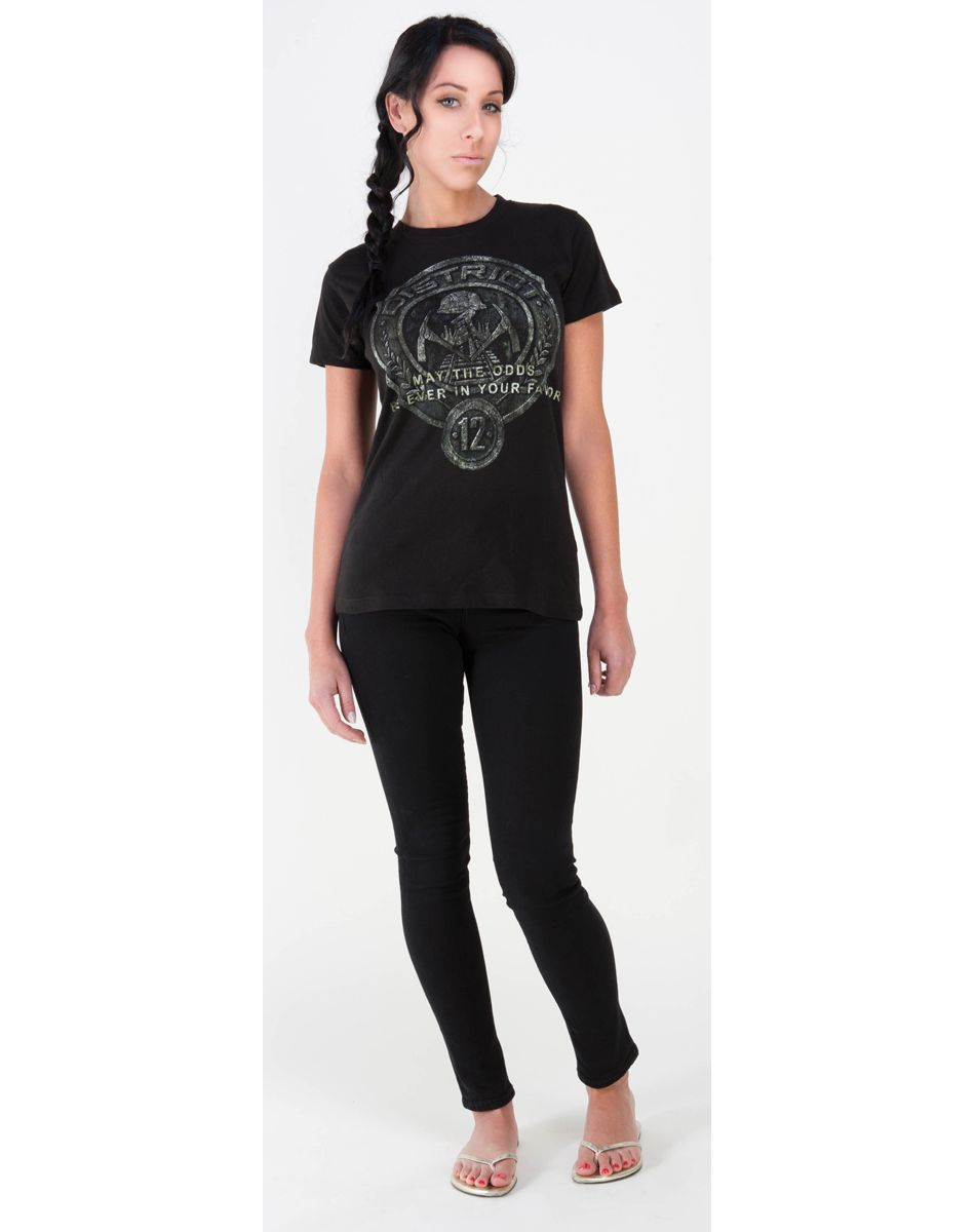 $19.99 I must be the biggest nerd to want this.  hunger games t-shirt on front: District 12:may the odds be ever in your favor. back: The Hunger Games