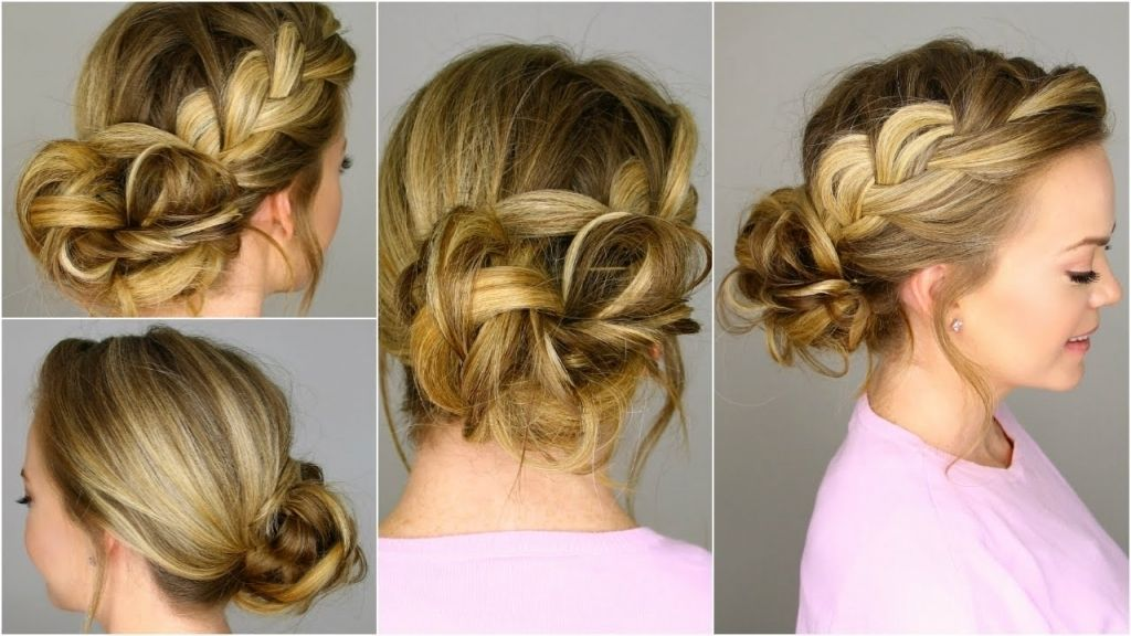 Braided Side Updo French Braid Into Messy Bun Youtube Popular Bun Hairstyles Hair Styles Braided Bun Hairstyles
