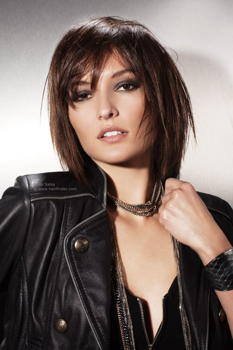 this mid-length layered haircut is neck-length at its