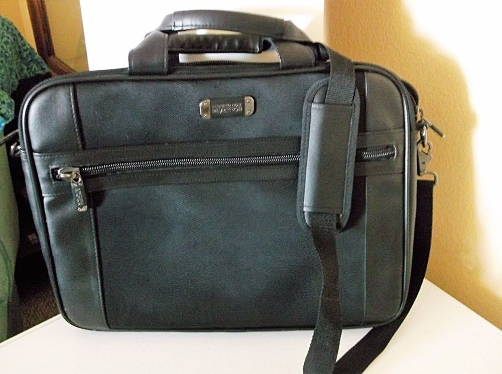 KENNETH COLE REACTION R-Tech Black Strap Laptop Messenger Briefcase 12x16x2 Bag  #KennethCole