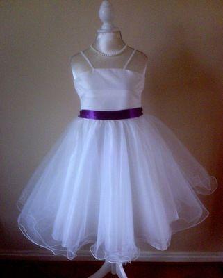 ae6b7c9dba2 Ivory Flower Girl Dress With Red Lilac Pink Cadbury Purple Sash 2-8 Years  Maisy