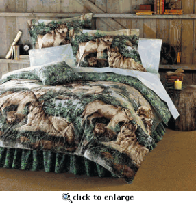 8 Piece Bed In A Bag Mountain Cabin Lodge Wolf Wolves Queen Comforter Set