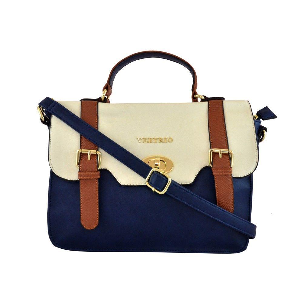 Bolsa De Mao Azul Marinho : Bolsa de m?o satchel bicolor azul marinho e mais