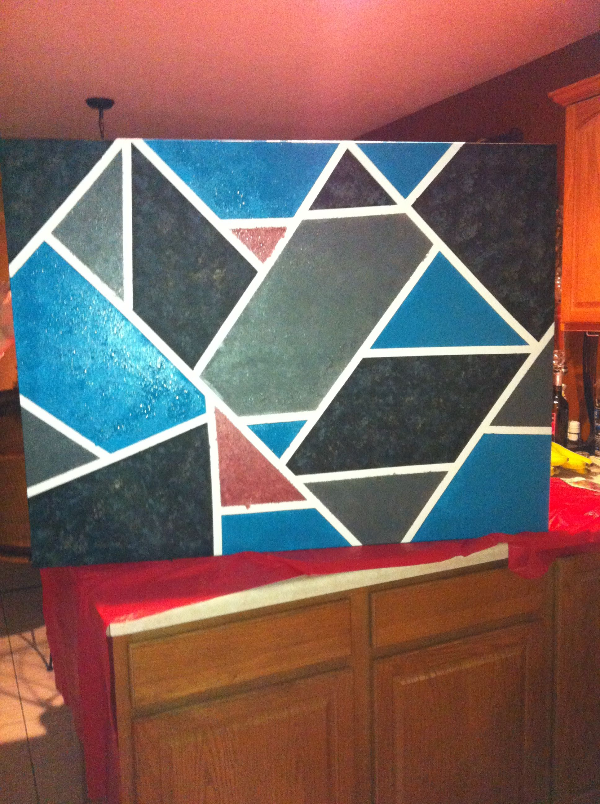 Place Tape Across Canvas Paint Inside Squares Used A Sponge To Faux Paint In Darker Colors For Dimension Pull Tape Off And You Have Your Art