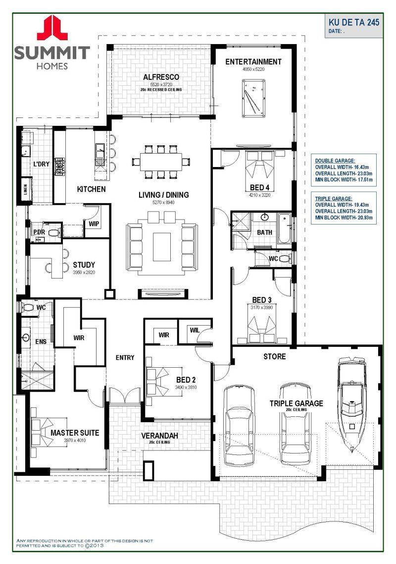 Floor plan friday open living with triple garage floor for Open plan house designs australia
