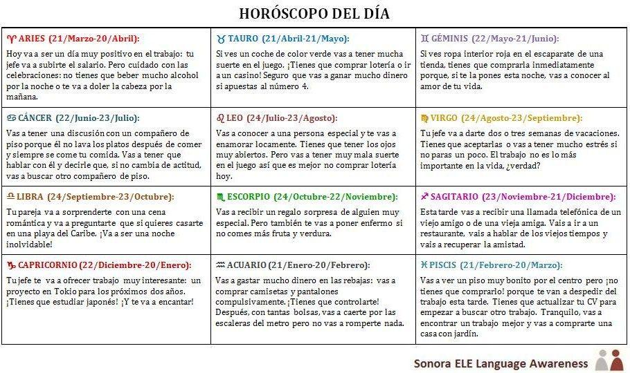 Online Spanish Tu Horóscopo Del Día Ir A Futuro Gramática