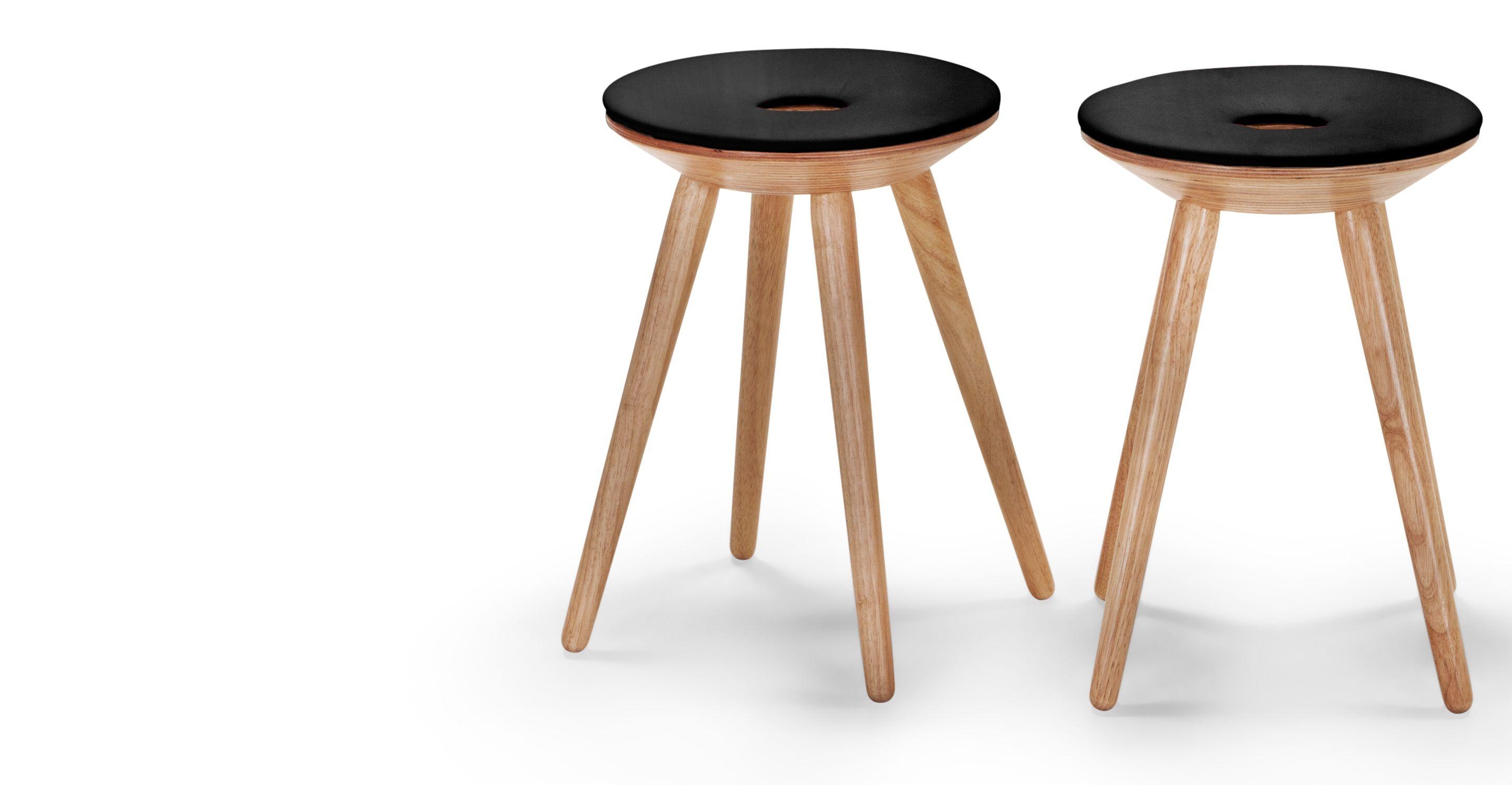 2 x kitson tabourets bois naturel et noir inspiration deco tabouret bois naturel et bois. Black Bedroom Furniture Sets. Home Design Ideas