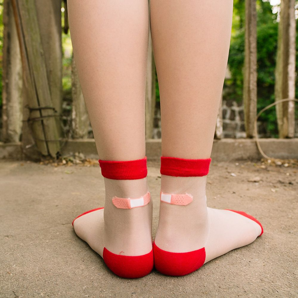 Harajuku Transparent Crystal Aid Silk Short Socks Summer Lace Art