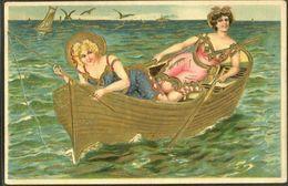 GS173 BATHING BEAUTIES fishing BOAT GOLD BARQUE Embossed Gaufrée  | En vente sur Delcampe
