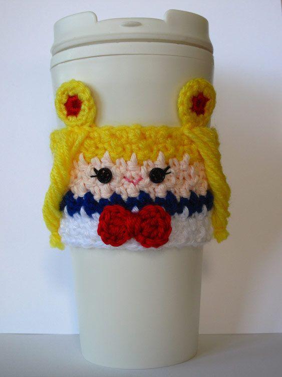 Crochet Sailor Moon Inspired Coffee Cup by TheEnchantedLadybug