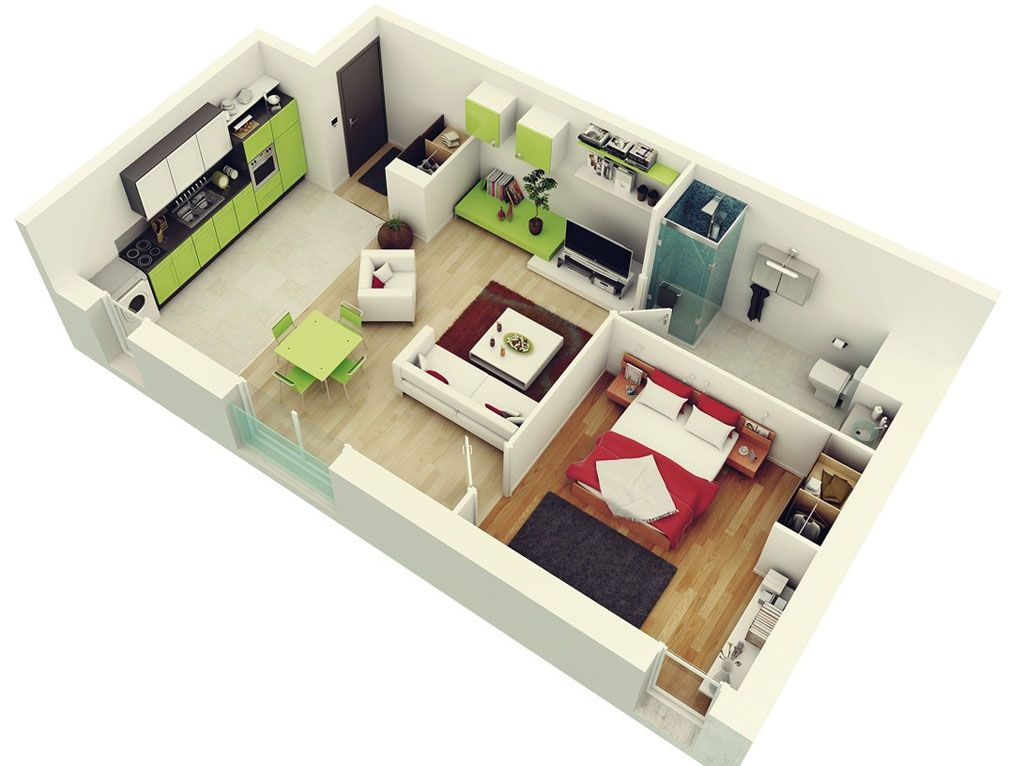 1 Bedroom Studio Apartment Floor Plan