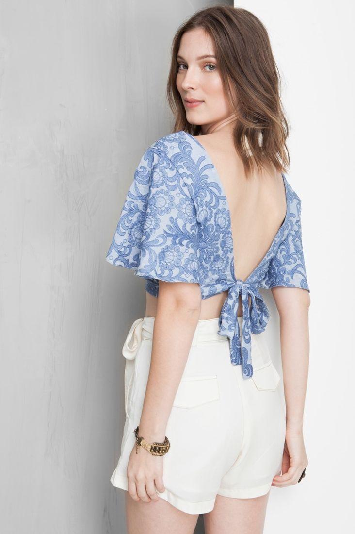 c0110c4ee blusa cropped amarração costas | Moda feminina de 2019 | Blusinhas ...