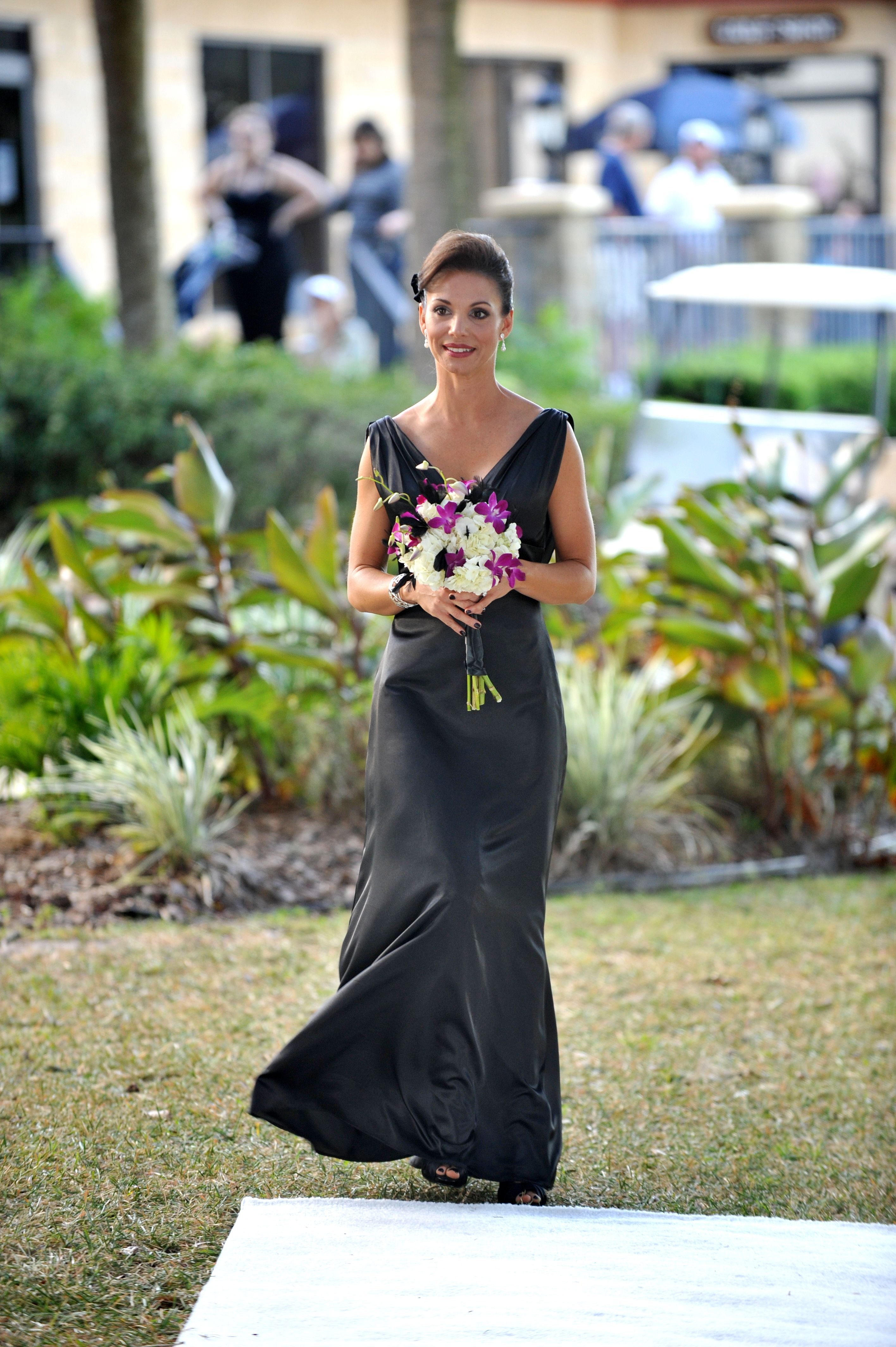 Black Bridesmaid dress - satin, v-neck, open drooping back.