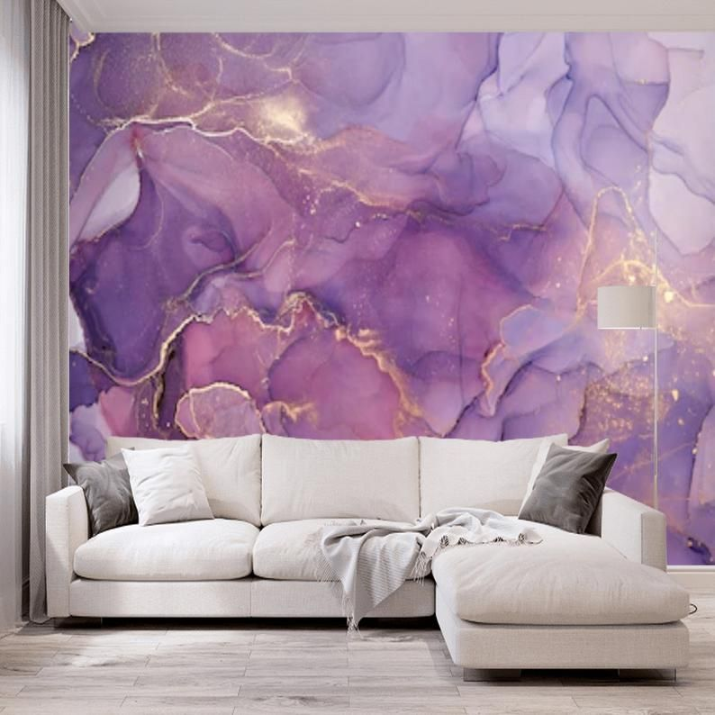 Peel And Stick Purple Gold Abstract Watercolor Wallpaper Mural Removable Large Wall Mural Self Adhesive Custom Vinyl Wallpaper Accent Wall In 2021 Large Wall Murals Wallpaper Accent Wall Watercolor Wallpaper