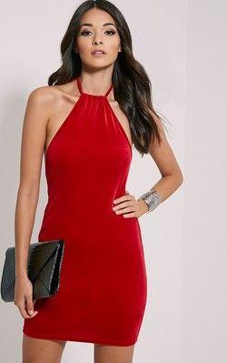 7734a8ae018 Marlee Red Velvet Mini Dress