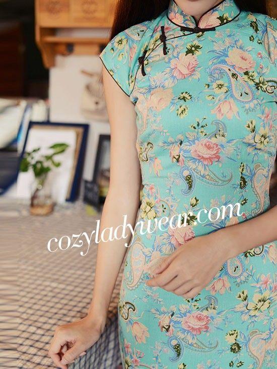 Blue Ankle-Length Linen Qipao / Cheongsam Dress with Lilies Print