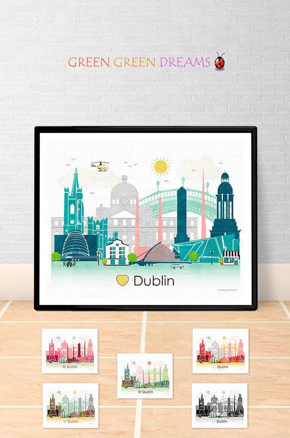 Dublin skyline Print Poster Watercolour Framed Canvas Wall Art city Belgium
