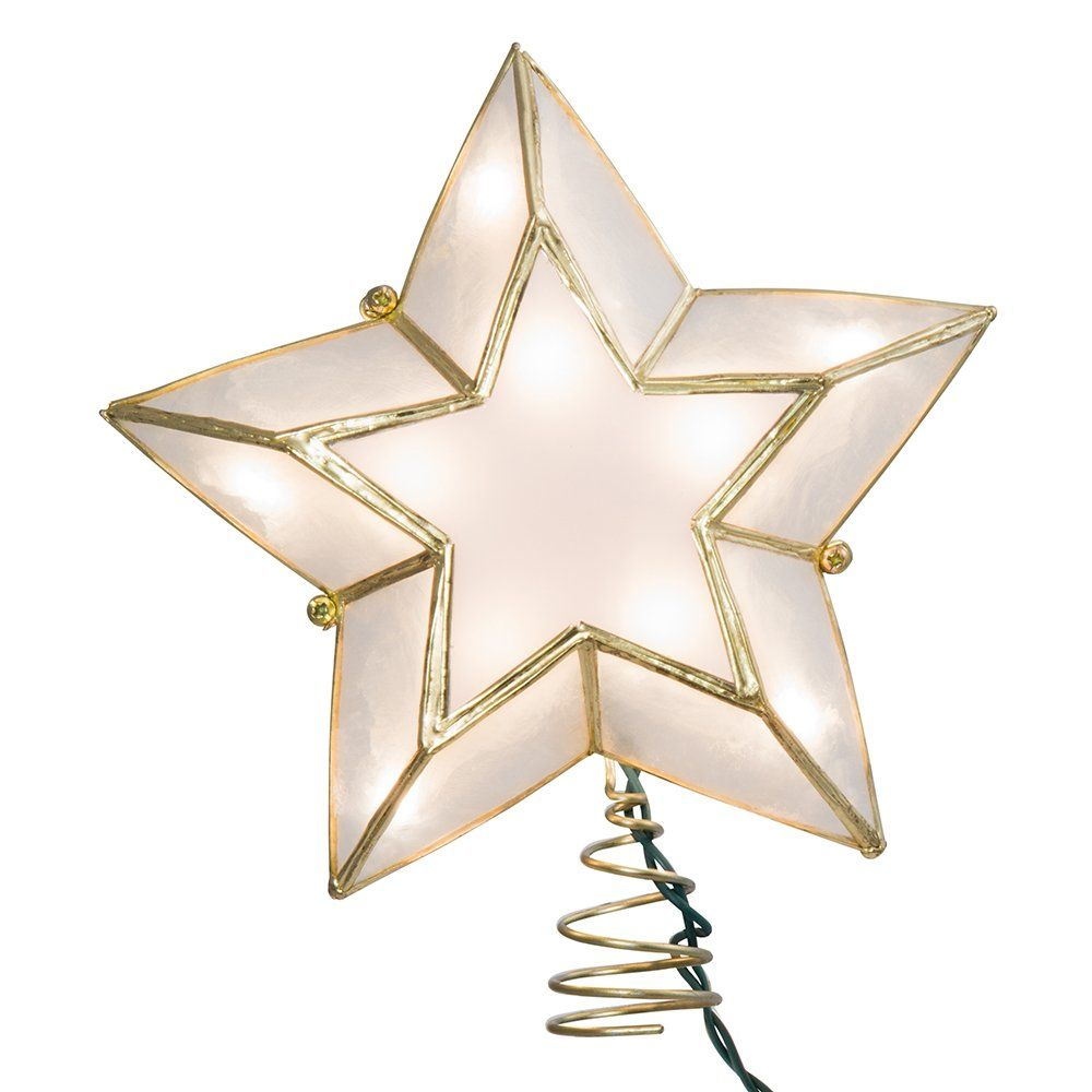 Kurt Adler 10light 5point Capiz Star Christmas Treetop Ivory And Gold More Info Could Be Found At The Image Handmade Christmas Decorations Capiz 10 Things