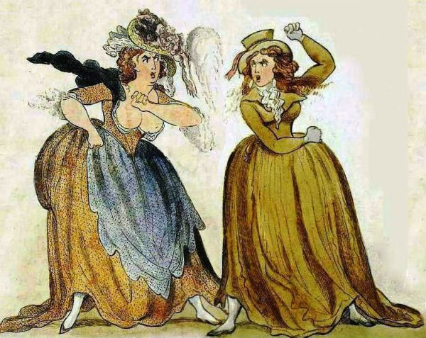 Ladies Fight Satirical Engraving Of The 18th Century