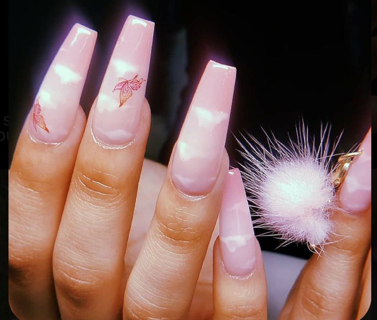 Pink Cloud An Butterfly Nails Art Girl Polish Cute Makeup In 2020 Pink Acrylic Nails Long Acrylic Nails Best Acrylic Nails