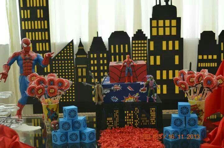 Festa spider men homem aranha super heroi painel