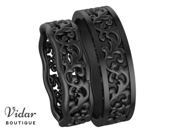 Black Gold Matching Wedding Bands His And Hers Matching Wedding Bands Black Gold Wedding Black Wedding Rings