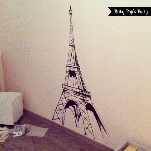 Decoration Chambre Enfant Bebe Room Children Tour Eiffel Tower Torre