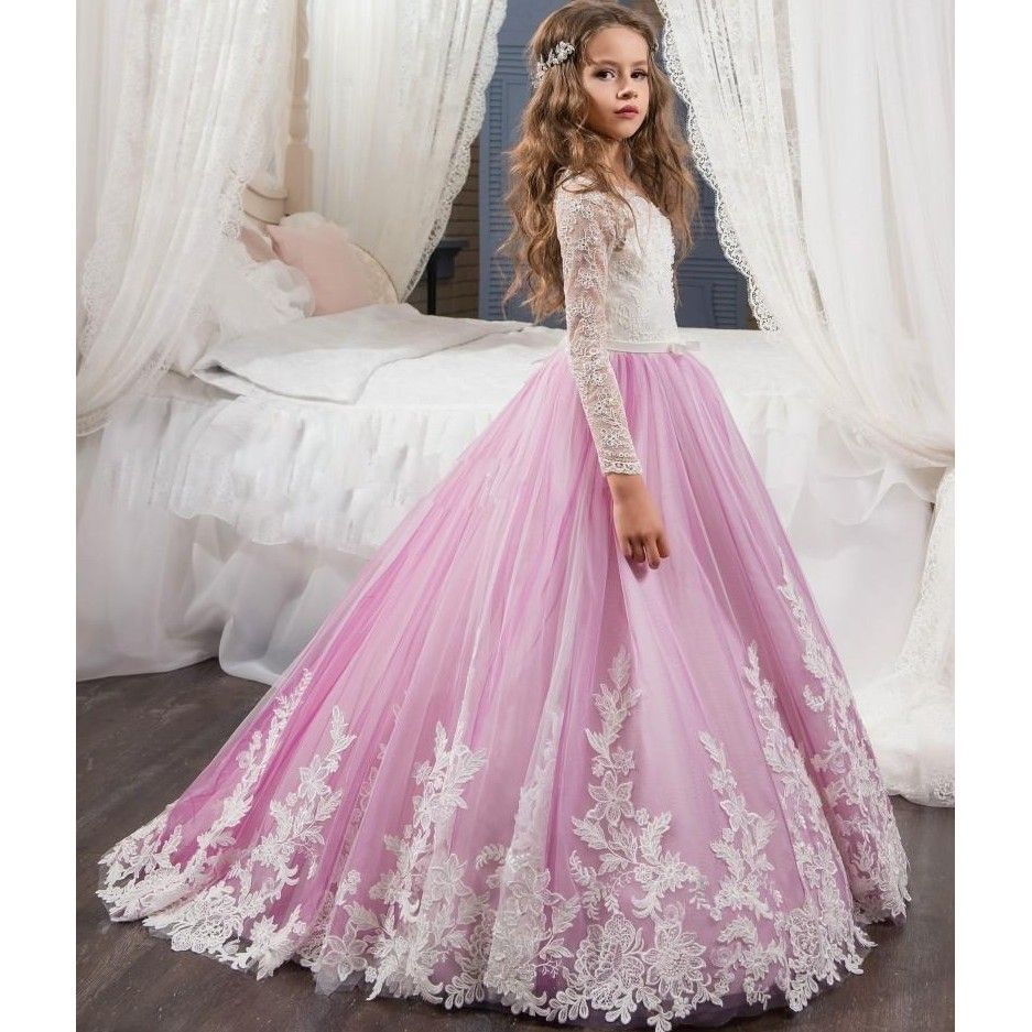Princess lilac lace flower girls dress with long sleeve cheap 2017 princess lilac lace flower girls dress with long sleeve cheap 2017 first communion dress ball gown izmirmasajfo Images